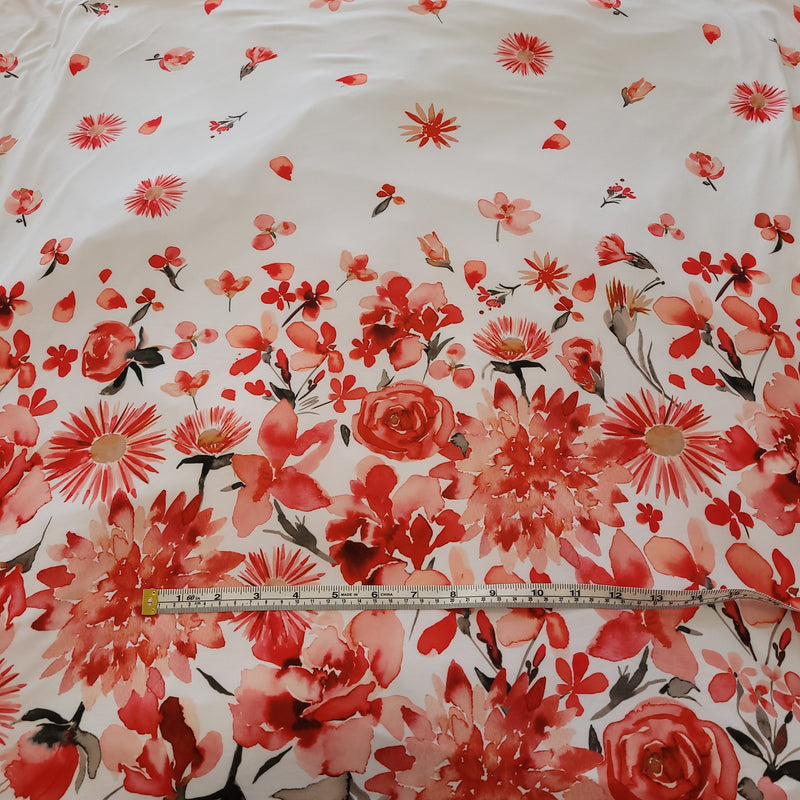 Red Floral Border Print - DBP-Flossy Fabrics