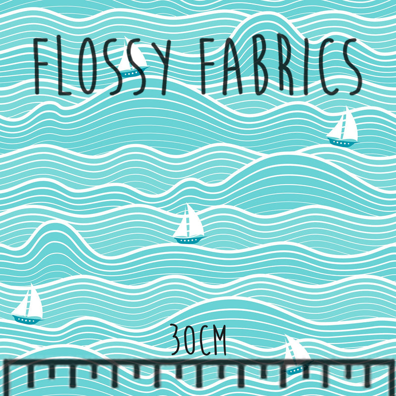 Sailboats Cotton Canvas-Flossy Fabrics