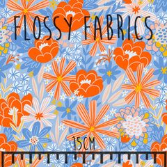 Tangerine Floral Bamboo Lycra-Flossy Fabrics