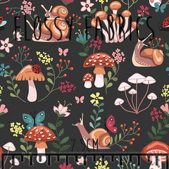 Toadstools and Snails mini - faux leather half metre-Flossy Fabrics