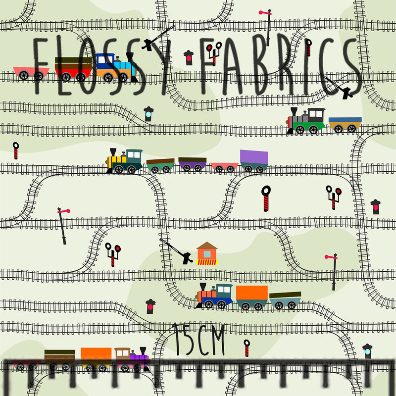 Trains Peachskin-Flossy Fabrics