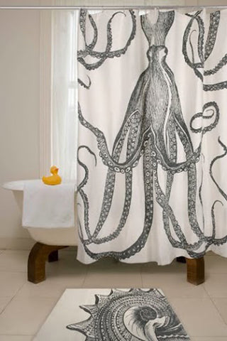 Charcoal Octopus Shower Curtain