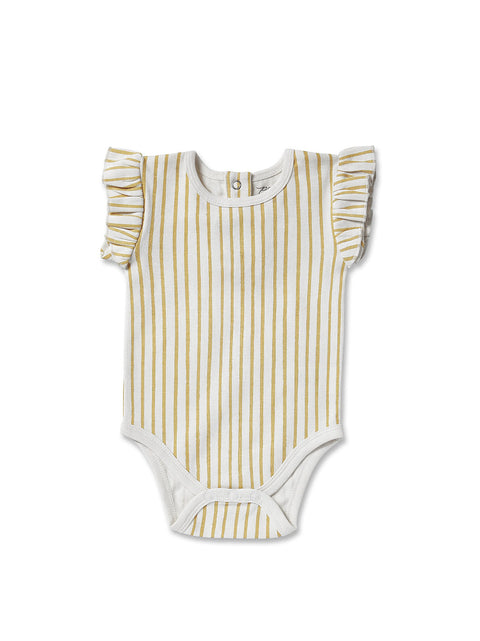 Pehr Stripes Away Marigold Ruffle Onesie