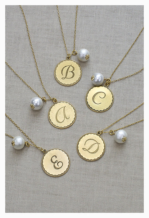 Sorority Gal Cotton Pearl Initial Necklace