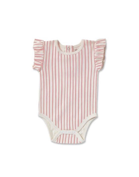 Pehr Stripes Away Pink Ruffle Onesie