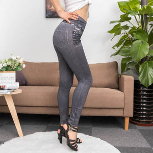 Make That Booty Pop Faux Denim Jeans Slimming Leggings #jeggings (!) - Get A Tiny Waist
