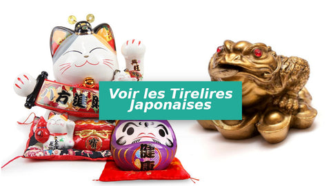 collection de tirelires japonaises chat japonais maneki-neko, daruma, et jin chan