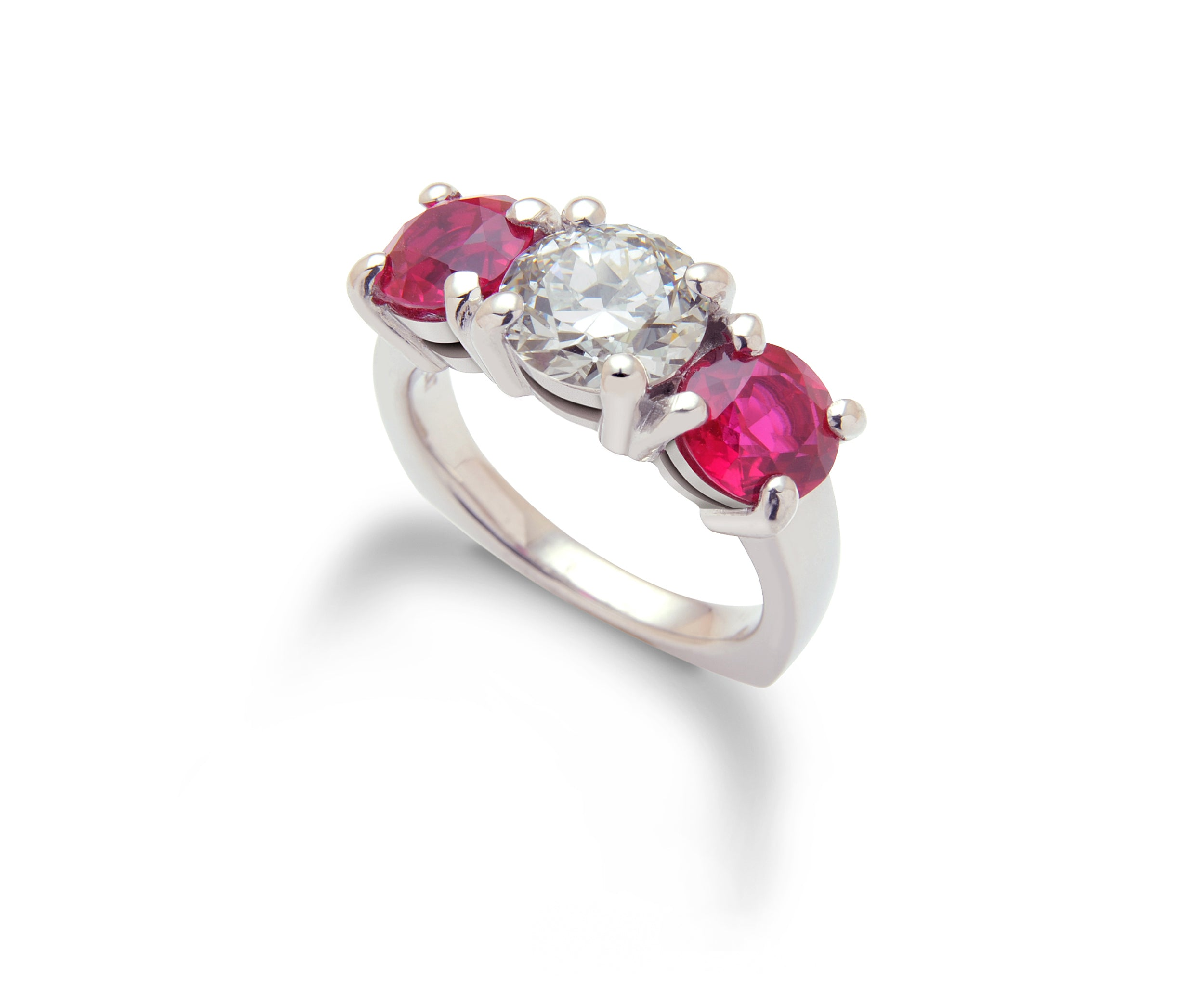 Two carat Diamond ring with large Rubies