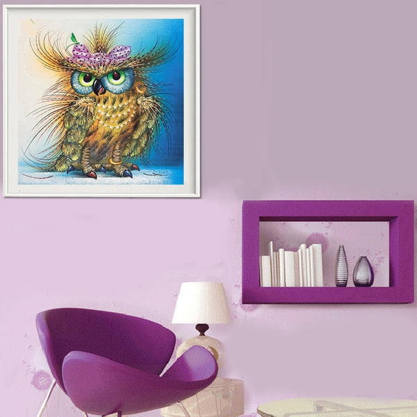Colorful Owl - Partial Round Diamond Painting