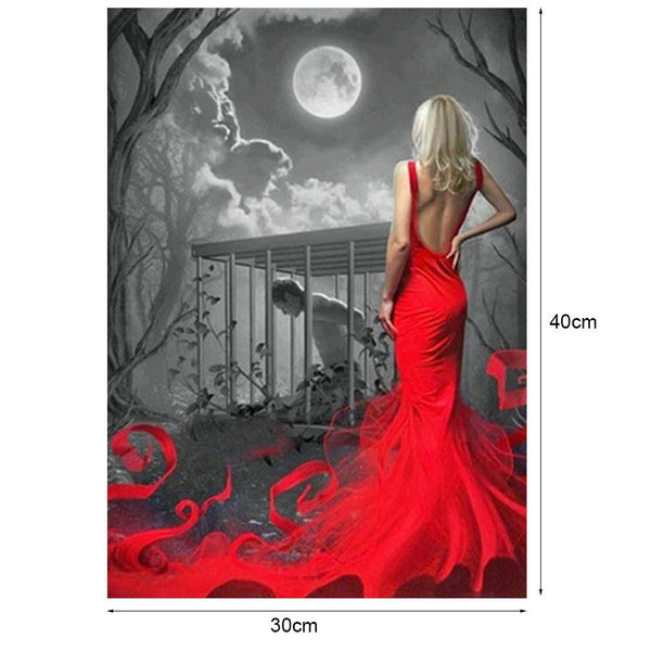 Red Dress Beauty - Partial Round Diamond Painting