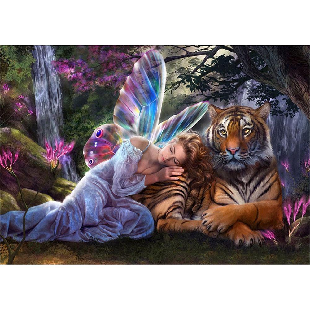 Angel and Tiger - Partial Round Diamond Painting