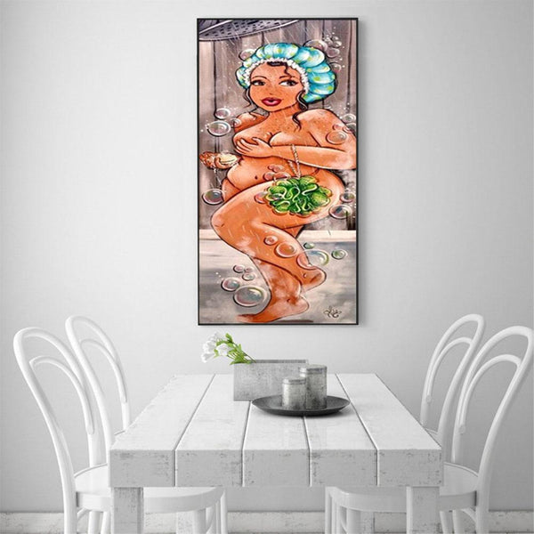 Fat Shower Lady - Partial Round Diamond Painting