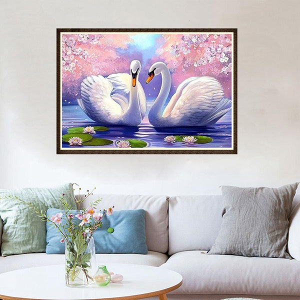 Two White Swans - Partial Round Diamond Painting