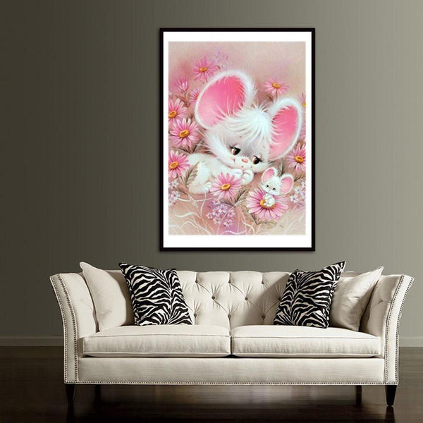 Cute White Mouse - Partial Round Diamond Painting