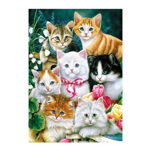 Cats Family - Partial Round Diamond Painting