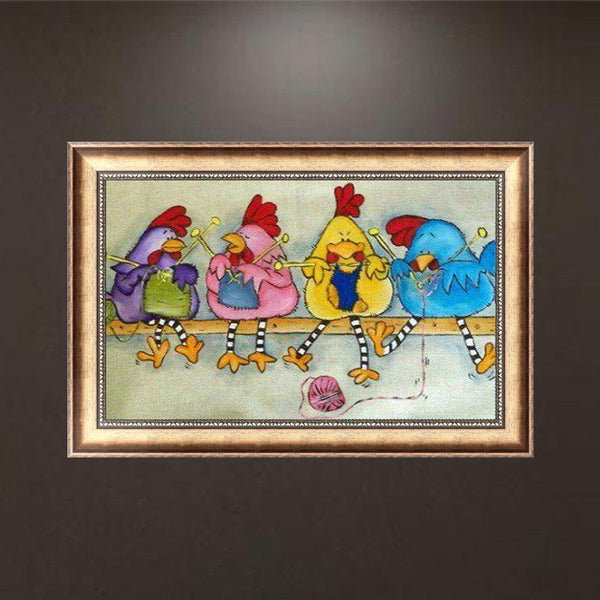 Chickens - Full Round Diamond Painting
