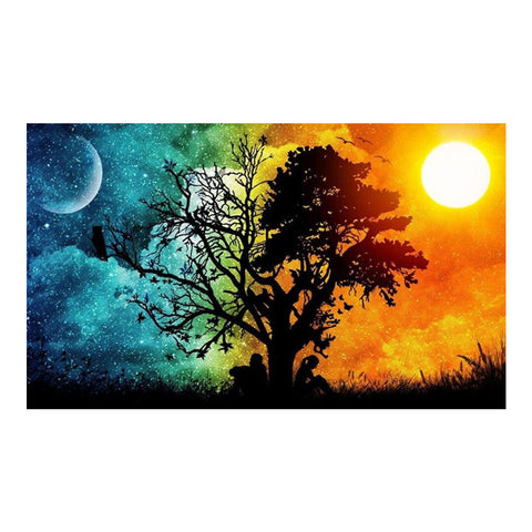 Sun And Moon Tree - Full Round Diamond Painting