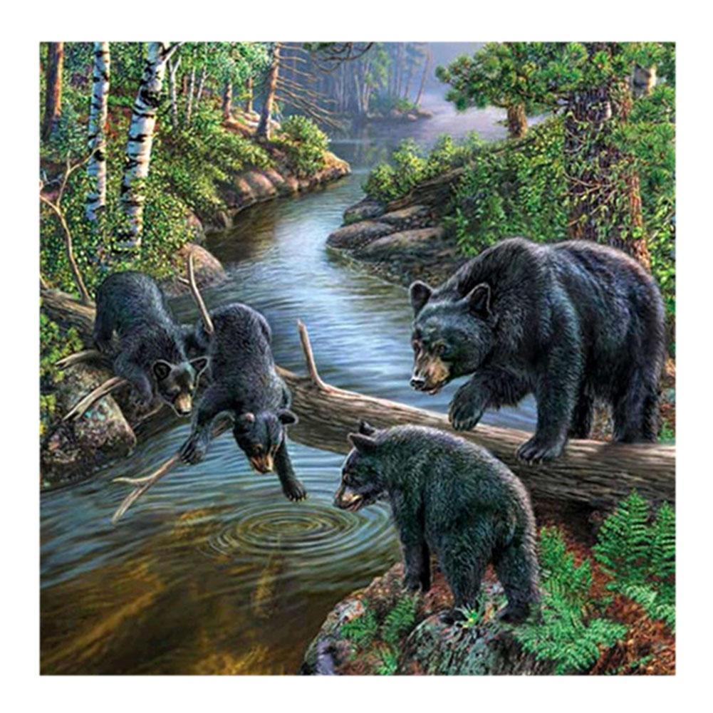Black Bears - Partial Round Diamond Painting