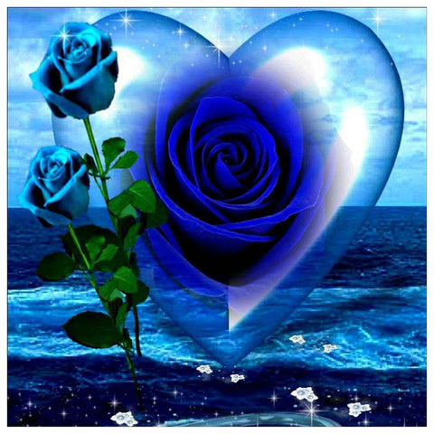 Blue Rose Heart - Partial Round Diamond Painting