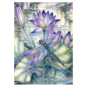 Dragonfly Lotus Flower - Full Round Diamond Painting