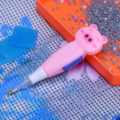 Pig Diamond Painting Single Head Point Drill Pen with Light