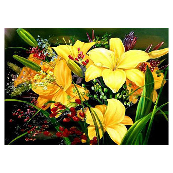 Yellow Lily Flower - Full Round Diamond Painting