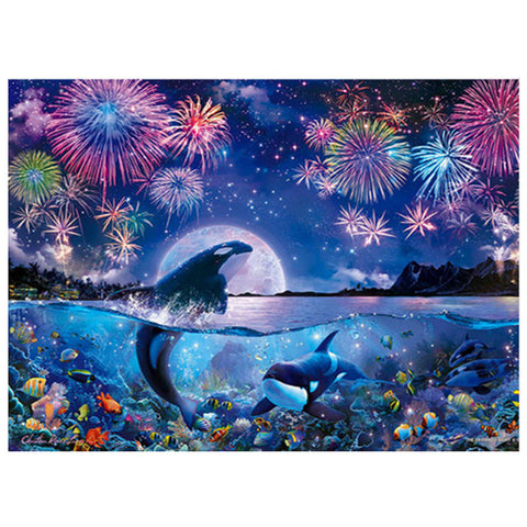 Dolphin Firework - Full Round Diamond Painting