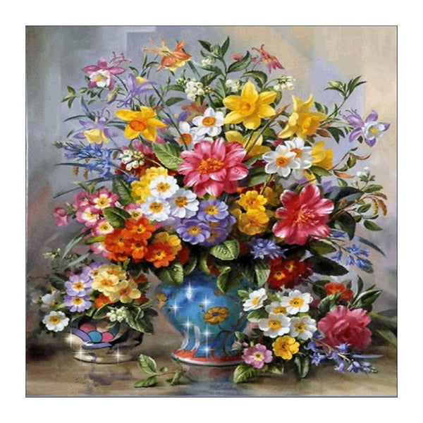 Flower Bottle - Partial Round Diamond Painting