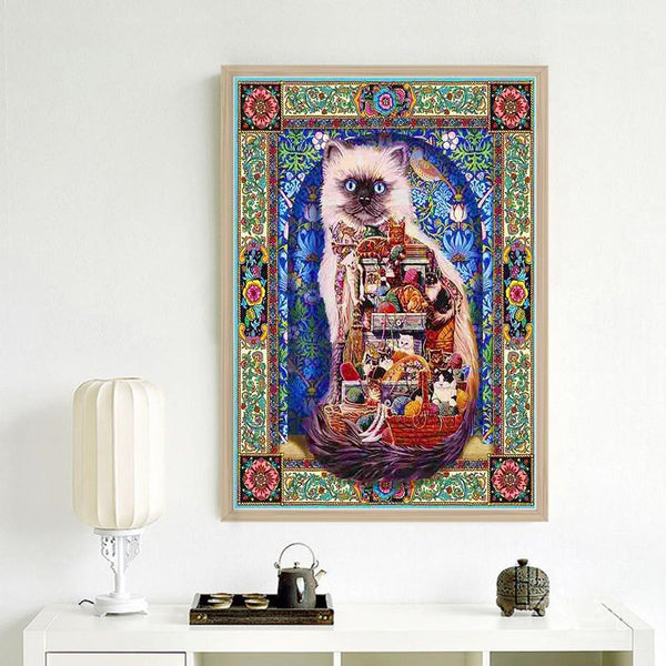 Abstract Cat - Full Round Diamond Painting