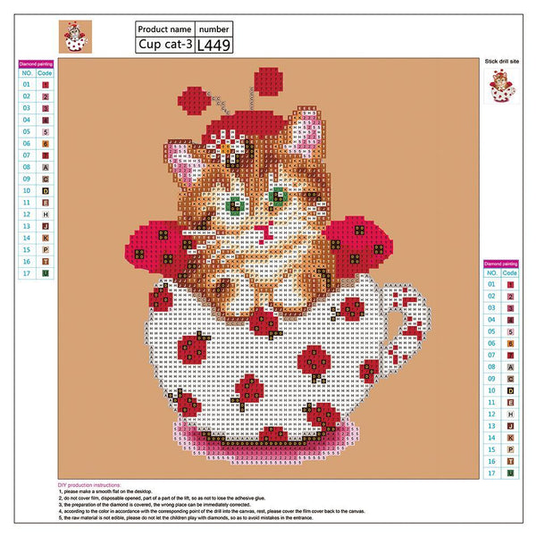 Lovely Cup Cat - Partial Round Diamond Painting