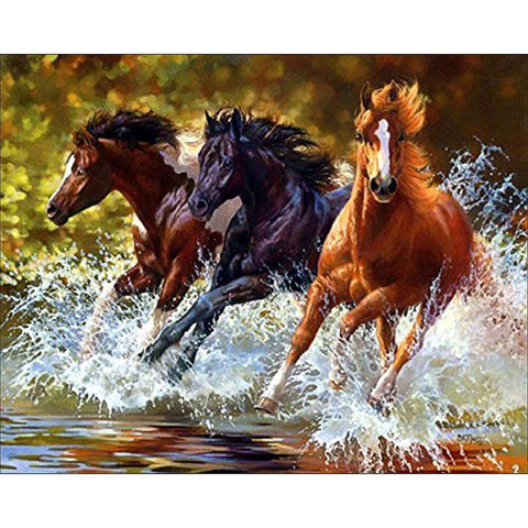 3 Running Horses - Full Round Diamond Painting
