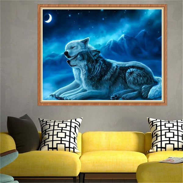 2 Wolves - Full Round Diamond Painting