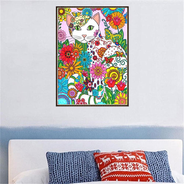 Cat Flowers - Full Round Diamond Painting