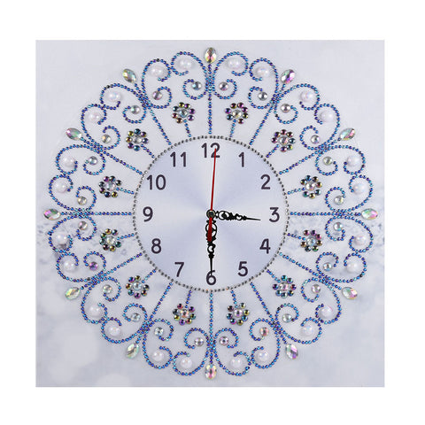 DIY Special Shaped Diamond Painting White Flower Wall Clock Craft Art Decor
