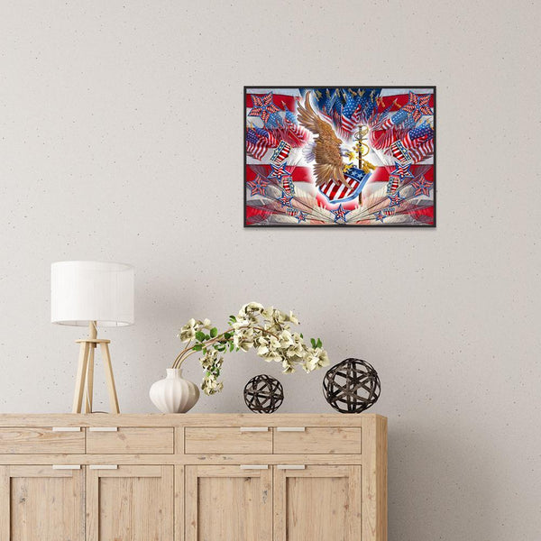 Eagle Flag - Full Round Diamond Painting