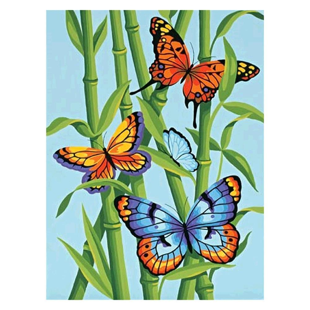 Butterfly in Bamboo - Full Round Diamond Painting