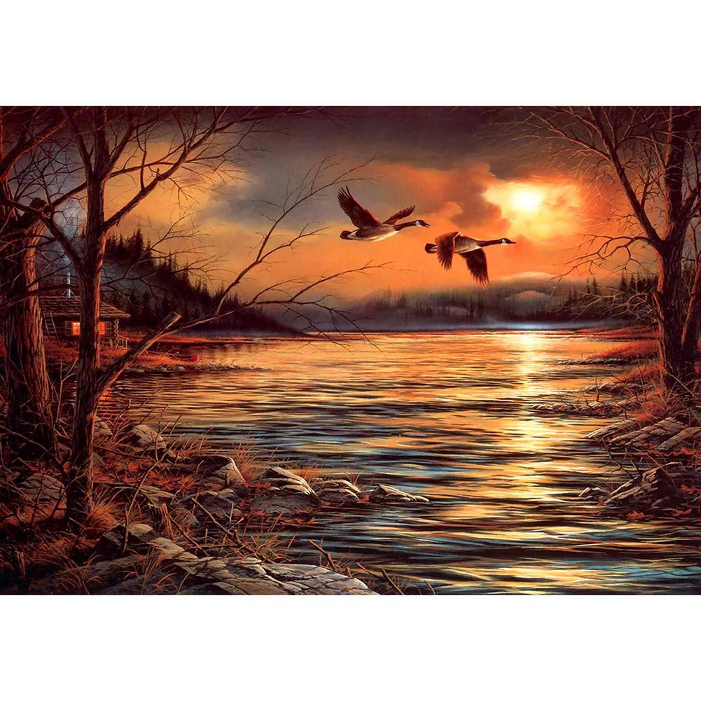 Sunset Bird Lake - Full Round Diamond Painting