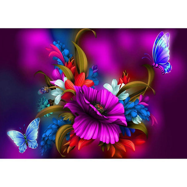 Fantasy Flowers Butterfly - Full Round Diamond Painting