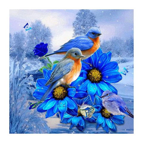 2 Birds in Flowers - Full Square Diamond Painting
