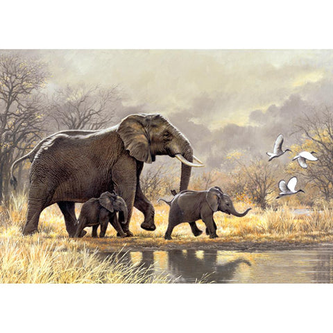 Elephants Family - Full Round Diamond Painting
