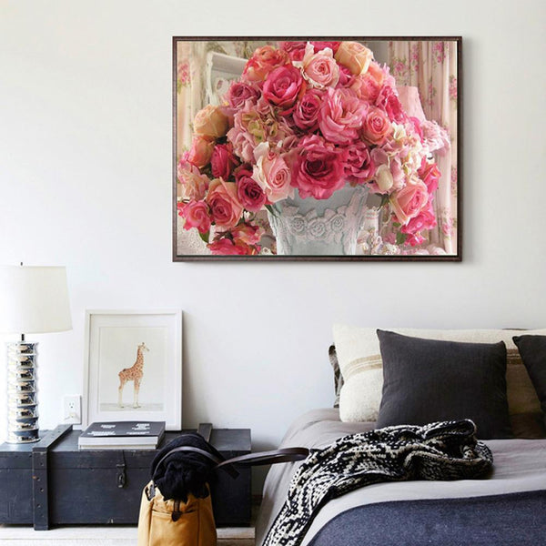 Pink Flower - Full Round Diamond Painting