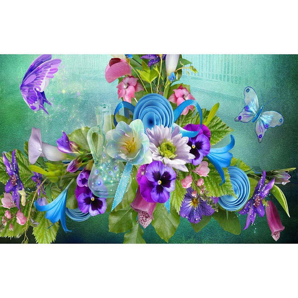 Butterfly Flowers - Full Round Diamond Painting