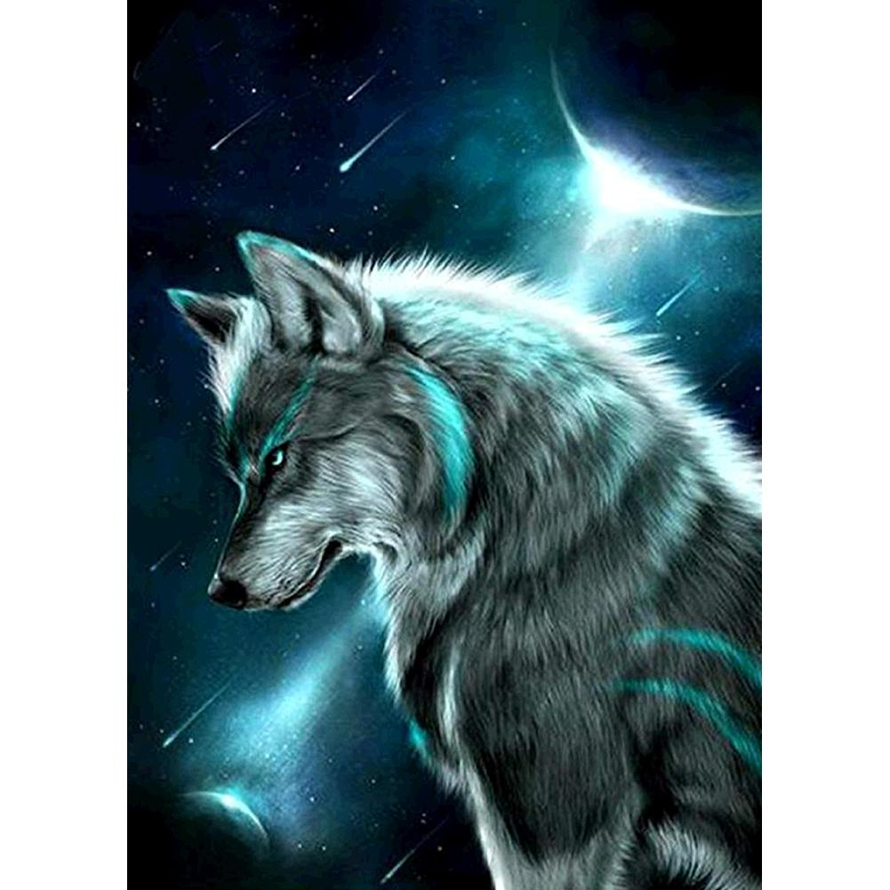 Night Wolf - Full Round Diamond Painting