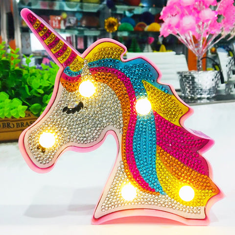 Creative DIY Full Diamond Painting Unicorn LED Light Bedroom Decor Night Lamp