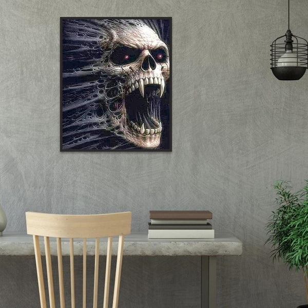 Skull Horror Head - Full Round Diamond Painting