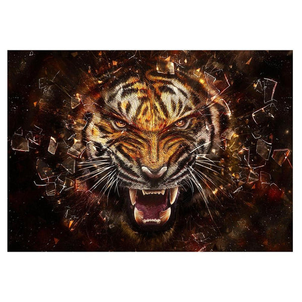 Fierce Tiger - Full Round Diamond Painting