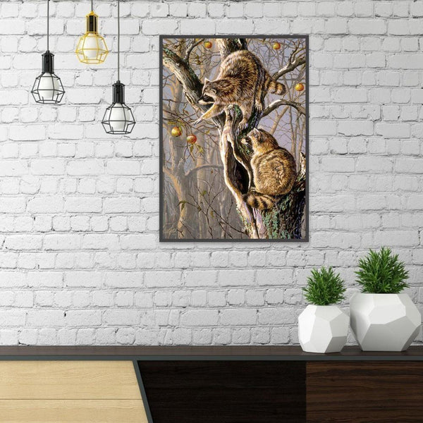 Climbing Raccoon - Full Round Diamond Painting