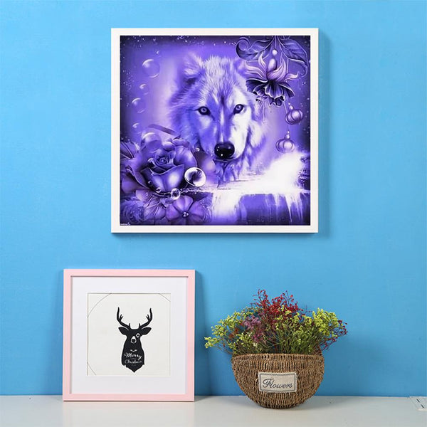 Purple Wolf Rose - Full Round Diamond Painting