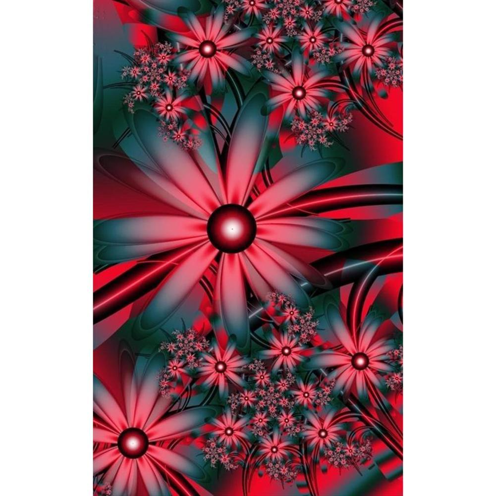 Red Fantasy Flowers - Full Round Diamond Painting