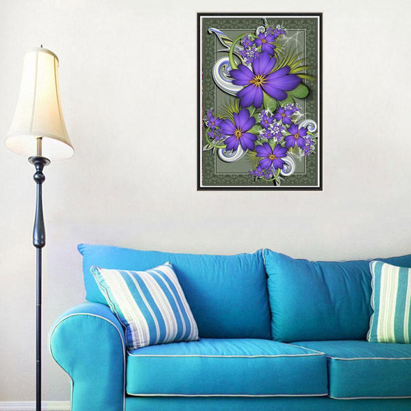 Purple Flowers - Full Round Diamond Painting